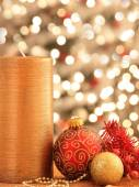 Christmas decorations with ornaments and lights — Stok fotoğraf