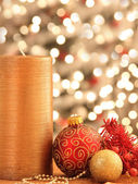 Christmas decorations with ornaments and lights — Stock fotografie
