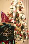 Christmas gift and christmas tree with lights — Foto de Stock