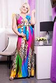 Plus size woman in stylish dress — Stock Photo