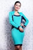Pretty brunette woman in trendy dress — Foto Stock