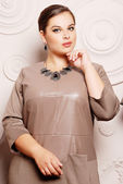 Plus size woman in stylish clothes — Photo