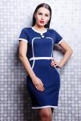 Brunette woman in stylish dress — ストック写真