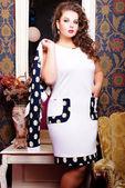 Woman in stylish trendy dress — Stock Photo