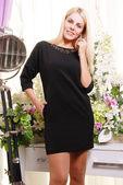 Blond woman in elegant dress — Stock Photo