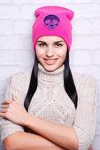 Brunette woman in winter hat — Stock Photo