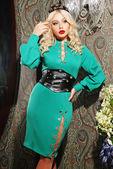Blond woman in stylish dress — Stock Photo