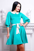 Beautiful woman in stylish dress — Foto de Stock