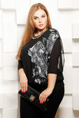 Plus size woman in casual clothes — Stock Photo