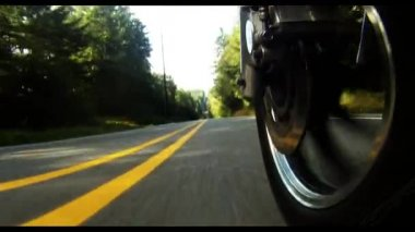 Big Motorcycle Goes Fast on Rural Two Lane Highway Cruising Fast — Stock Video