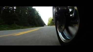 Motorcycel Front Mag Wheel Speeding Down The Highway — Stock Video