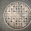 Vanted Manhole Sewer Main Cover Asphalt Side Street Water Drain — Stock Photo #53782225