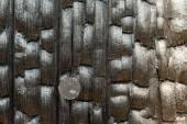 Burned Wood Fencepost Rusty Nail Charred Lumber — Stock Photo