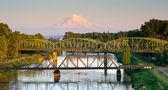 Railroad Car Bridges Puyallup River Mt. Rainier Washington — Foto de Stock