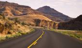 Curves Frequent Two Lane Highway John Day Fossil Beds — Stock Photo