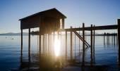 Elevated Pier Walkway to Boathouse Lake Tahoe City Sunrise — Stock Photo
