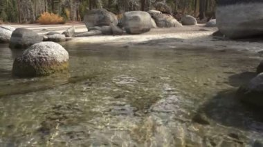 Amazing Clear Clean Beach in Cold Clean Water Lake Tahoe Alpine Waters — Stock Video