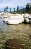 Crystal Clear Water Smooth Rocks Lake Tahoe Sand Harbor — Stock Photo