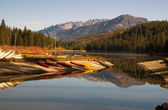 Boats Kayaks Ducks Wildlife Fisherman Hume Lake Kings Canyon — Stock Photo