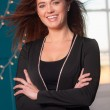 Intellectual Business Woman Head Tilted Office Workplace Portrait — Stock Photo #64120373