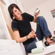 Hip Woman Painting Tools Brush Roller Window Frame — Stock Photo #66562969