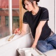 Hip Woman Painting Tools Brush Roller Window Frame — Stock Photo #66563007