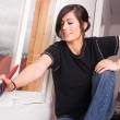 Hip Woman Painting Tools Brush Roller Window Frame — Stock Photo #66563067