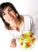 Healthy Eating Woman Enjoys Raw Food Fresh Green Salad — Stock Photo