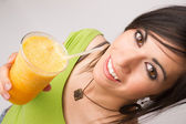 Attractive Woman Intimate Portrait Drinking Orange Fruit Smoothie — Stock Photo