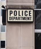 Downtown Precinct Police Department Sign Law Enforcement Building — Stock Photo