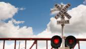 Train Passing Railroad Crossing Warning Lights Flashing — Stock Photo