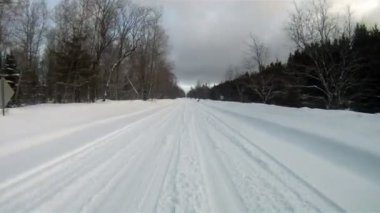 Fresh Snow Rural Two Lane Road Winter Landscape — Stock Video
