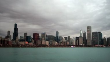 Lago Michigan Chicago Illinois Downtown City Skyline panorâmica — Vídeo stock