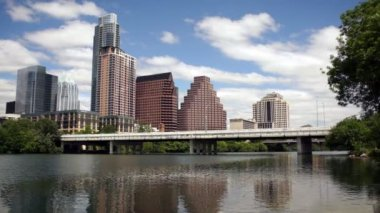 Austin City Skyline Under First Street Bridge Colorado River — Stock Video