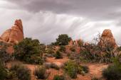 Rain Streaks Clouds Rock Formations Utah Juniper Trees — Stock Photo