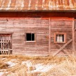 Abandoned Derelict Farm Barn Cold Winter North Country — Stock Photo #77686374