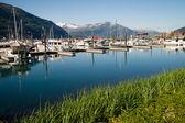 Motorboats Yachts  Sailboats Port Harbor Marina Whittier Alaska — Stock Photo
