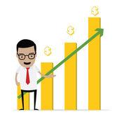 Businessman with stock graph — Cтоковый вектор