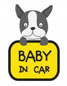 Baby dog in car sticker — Stock Vector