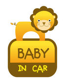 Baby lion in car sticker — Stock Vector