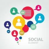 Elemento di gruppo social icon — Vettoriale Stock
