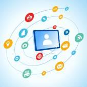 Media social icon circulation round copmuter desktop pc — Stock Vector