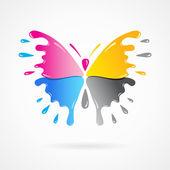Butterfly colored cmyk print splash — Stock Vector