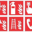 Standard fire safety sign collection — Stock Vector #62307825