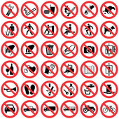 Standard Prohibition sign collection, High quality — Wektor stockowy