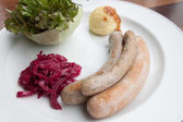 Sausages and mashed potato and vegetable — Stock Photo