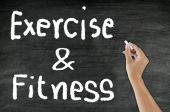 Handwriting Exercise & Fitness on blackboard — Stock Photo