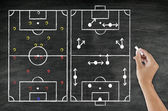 Hand writing foot ball tactic on blackboard — Stock Photo