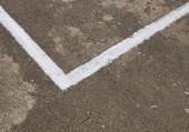 White line on concrete court — Stock Photo