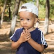 African American child boy in park on nature — Foto Stock